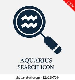 Aquarius search icon. Aquarius icon in magnifier icon. Editable Aquarius search icon for web or mobile.