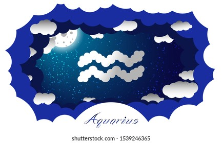 Aquarius sign in cloud style. Zodiac signs. Paper cut out style vector image of aquarius symbol on starry sky illuminated by full moon and surrounded by clouds with sign and constellation name