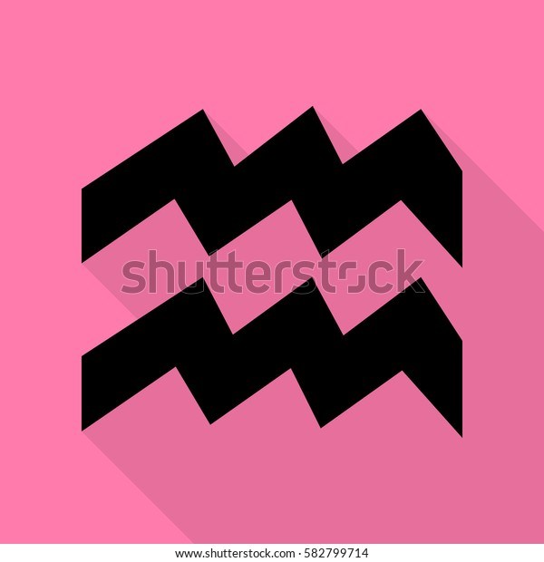 Aquarius sign illustration. Black icon with flat style shadow path on pink background.