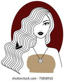 Aquarius woman horoscope and zodiac sign illustration