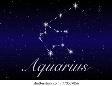 Aquarius zodiac constellations sign on beautiful starry sky with galaxy and space behind. Aquarium horoscope symbol constellation on deep cosmos background. vector