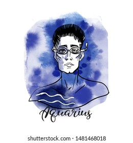 Aquarius zodiac design as men illustration. Watercolor and sketch vector illustration
