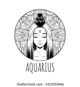 Aquarius zodiac sign artwork, adult coloring book page, beautiful horoscope symbol girl, vector illustration