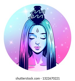 Aquarius zodiac sign artwork, beautiful girl face, horoscope symbol, star sign, vector illustration