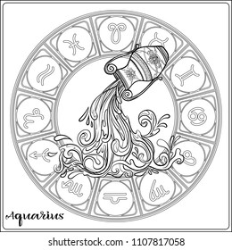 Aquarius Zodiac sign. Astrological horoscope collection. Outline vector illustration. Outline hand drawing coloring page for the adult coloring book.