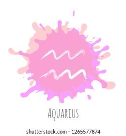 Aquarius zodiac sign, hand painted horoscope symbol vector. Astrological icon isolated. Aquarius astrology zodiac symbol clip art on white background.