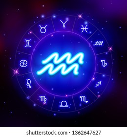 Aquarius zodiac sign, horoscope symbol, vector illustration