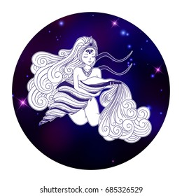 Aquarius zodiac sign, horoscope symbol, vector illustration
