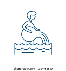 Aquarius zodiac sign line icon concept. Aquarius zodiac sign flat  vector symbol, sign, outline illustration.