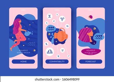 Aquarius zodiac sign. Mobile app screens for horoscopes, astrology applications, websites, predictions.