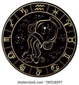 Aquarius. Zodiac sign on a dark background in a gold frame with stars. Vector illustration.