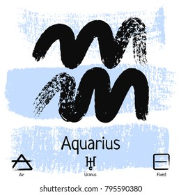 Aquarius. Zodiac sign pictogram. Calligraphic zodiac signs. Brush hand drawn. Vector illustration aquarius zodiac sign.