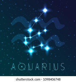 Aquarius zodiac sign. Vector illustration with constellations and hand-drawn astronomical symbols. Shining stars in the night sky.
