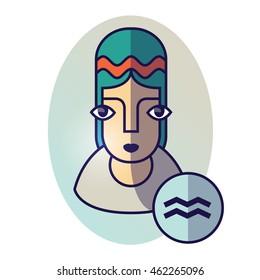 Aquarius zodiac sign. Vector illustration of horoscope. Girl portrait in a Aquarius character