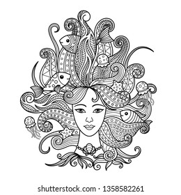 Aquarius zodiac sign. Zentangle coloring book page for adult.
