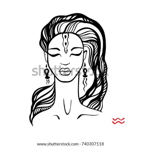 Aquarius Zodiac Signs Collection Beautiful Ink Stock Vektorgrafik