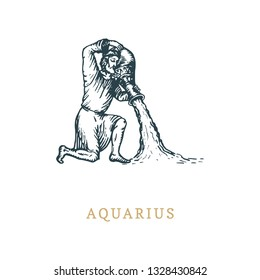 Aquarius zodiac symbol, hand drawn in engraving style. Vector graphic retro illustration of astrological sign Water-bearer.