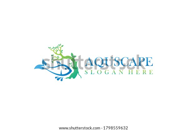 Aquascape Aquarium Paludarium Logo Design Bonsai Stock Vector Royalty Free 1798559632