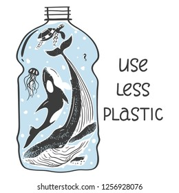 Aquatic animals in the bottle show the problem of pollution of the ocean with plastic. Vector illustration of an environmental problem. Eps 10.