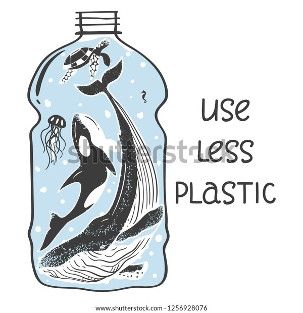 Aquatic Animals Bottle Show Problem Pollution Stock Vector