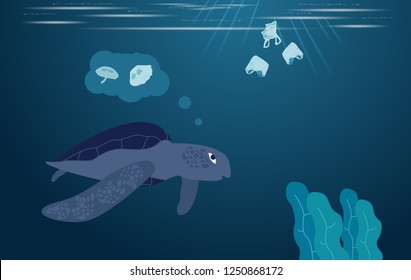 Aquatic animals eat plastic garbage,Turtles can eat plastic bags mistaking them for jellyfish,rubbish in sea,flat design style,vector illustration.