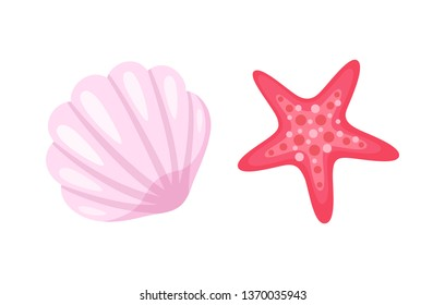 Aquatic creatures vector, isolated icons of conch and starfish. Pink seastar with five corners, animals living in sea water, ocean bottom dwellers