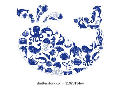 Blue White Teeth Fish Anchor Sealife Sea Ocean Dress It Up Craft Buttons SHARK