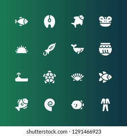 aquatic icon set. Collection of 16 filled aquatic icons included Diving, Fish, Seashell, Turtle, Fishbowl, Whale, Sea urchin, Frog, Salmon