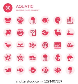 aquatic icon set. Collection of 30 filled aquatic icons included Frog, Shell, Jellyfish, Fish, Seashell, Fishbowl, Dive, Whale, Goldfish, Salmon, Aquarium, Tortoise, Turtle, Hippo