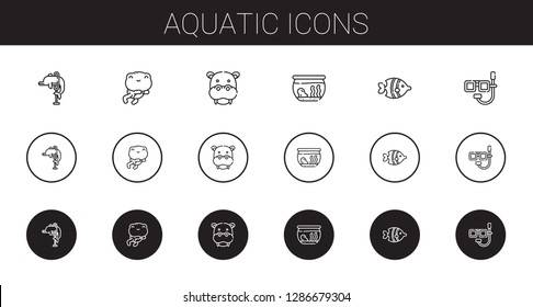 aquatic icons set. Collection of aquatic with dolphin, frog, hippopotamus, fishbowl, fish, dive. Editable and scalable aquatic icons.