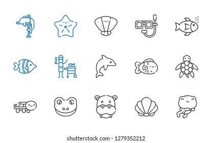 aquatic icons set. Collection of aquatic with frog, seashell, hippopotamus, turtle, fish, dolphin, fishes, dive, starfish. Editable and scalable aquatic icons.