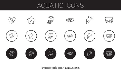 aquatic icons set. Collection of aquatic with seashell, starfish, frog, turtle, dolphin, fishbowl. Editable and scalable aquatic icons.