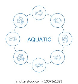 aquatic icons. Trendy 8 aquatic icons. Contain icons such as fish. aquatic icon for web and mobile.