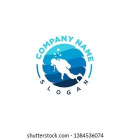 aquatic logo emblem blue white