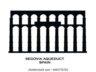 Aqueduct of Segovia, Spain vector icon.  Roman Aqueduct  vector building. National symbol of Spain. Illustration EPS.