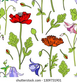 Aquilegia flower, red Poppy, leaf hand drawn vector botanical illustration isolated on white background, Seamless floral pattern, Columbine for design, greeting card, wedding invitation, cosmetic