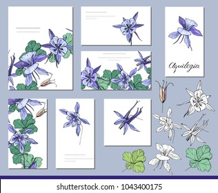 Aquilegia set with visitcards and greeting templates