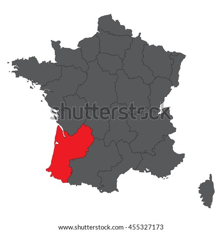 Aquitaine Red On Gray France Map Stock Vector Royalty Free