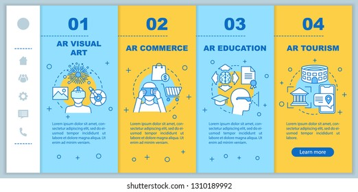 AR applying onboarding mobile web pages vector template. Augmented reality commerce, education, tourism. Responsive smartphone website interface idea. Webpage walkthrough step screens. Color concept
