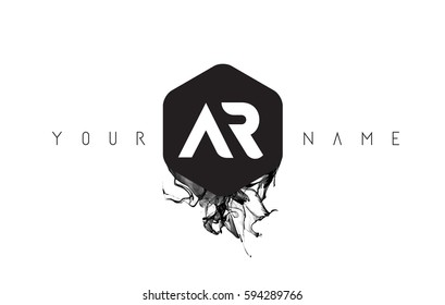 AR Black Ink Letter Logo Design with Rounded Hexagon Vector.