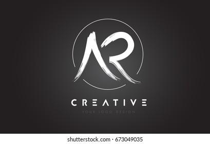 AR Brush Letter Logo Design. Artistic Handwritten Brush Letters Logo Concept Vector.