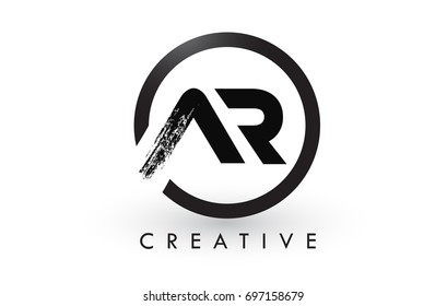 AR Brush Letter Logo Design with Black Circle. Creative Brushed Letters Icon Logo.