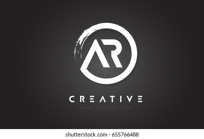 AR Circular Letter Logo with Circle Brush Design and Black Background.