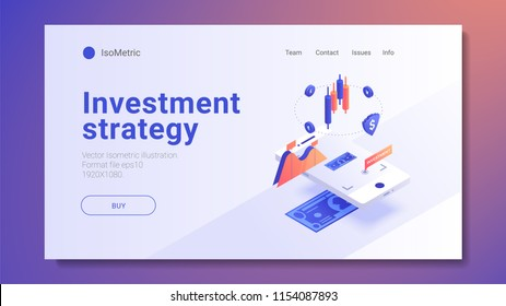 AR Concept business strategy. growth statistics. Success in the business. 3d isometric design. Vector illustration.