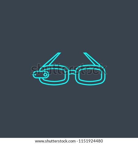 f60c2a1c37 AR glasses concept blue line icon. Simple thin element on dark background.  AR glasses