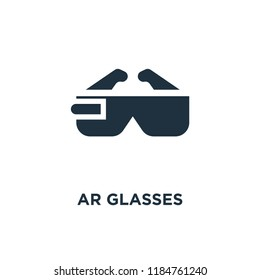 Ar glasses icon. Black filled vector illustration. Ar glasses symbol on white background. Can be used in web and mobile.
