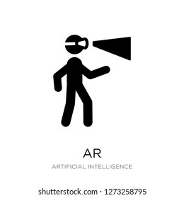 ar icon vector on white background, ar trendy filled icons from Artificial intelligence collection, ar simple element illustration