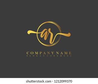 AR initial handwriting logo circle template vector