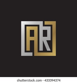 AR initial letters looping linked square elegant logo golden silver black background