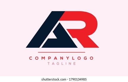 AR initials monogram letter text alphabet logo design